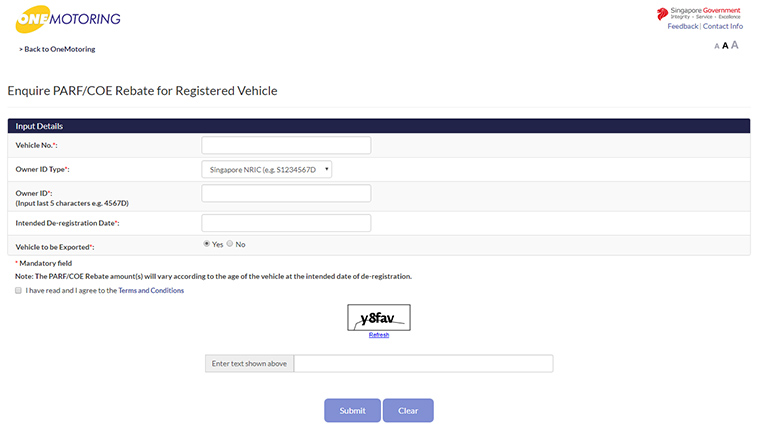 Fill in the details (image below) and submit and you should receive your Car Chassis Number.